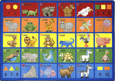 "Animal Phonics© Primary Classroom Circle Time Rug, 7'8"" x 10'9"" Rectangle"