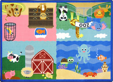 "Animals All Around© Kid's Play Room Rug, 3'10"" x 5'4"" Rectangle"