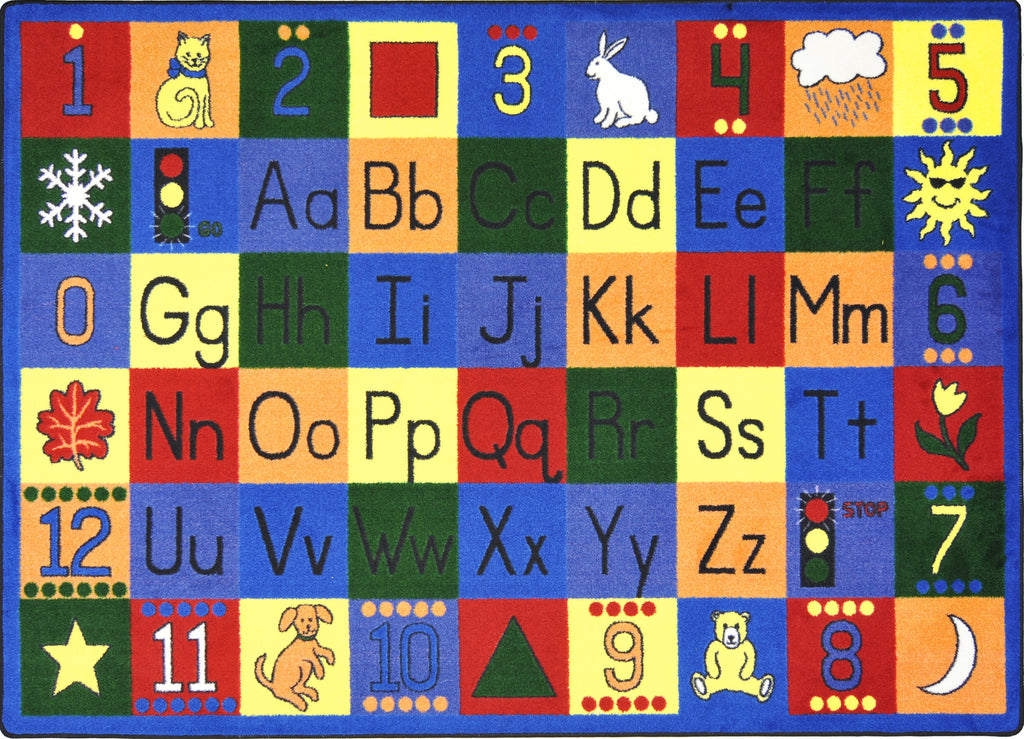 "Around the Block© Primary Alphabet & Numbers Classroom Rug, 5'4"" x 7'8"" Rectangle"