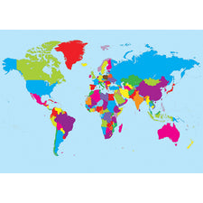 Magnetic Write-On/Wipe-Off World Map
