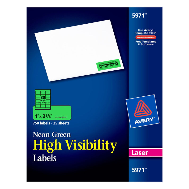 "Avery® Neon Green High-Visibility Labels for Laser Printers, 1"" x 2-5/8"", Pack of 750"