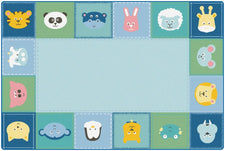 KIDSoft™ Baby Animals Border Classroom Circle Time Rug, 6' x 9' Rectangle