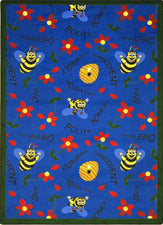 "Bee Attitudes© Classroom Rug, 5'4"" x 7'8"" Rectangle Blue"