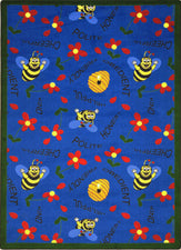 "Bee Attitudes© Classroom Rug, 3'10"" x 5'4"" Rectangle Blue"