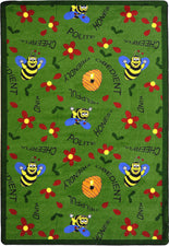 "Bee Attitudes© Classroom Rug, 5'4"" x 7'8"" Rectangle Green"