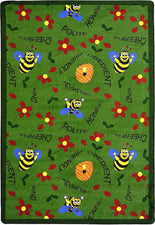 "Bee Attitudes© Classroom Rug, 3'10"" x 5'4"" Rectangle Green"