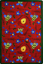 "Bee Attitudes© Classroom Rug, 5'4"" x 7'8"" Rectangle Red"