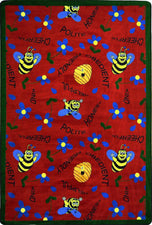 "Bee Attitudes© Classroom Rug, 3'10"" x 5'4"" Rectangle Red"