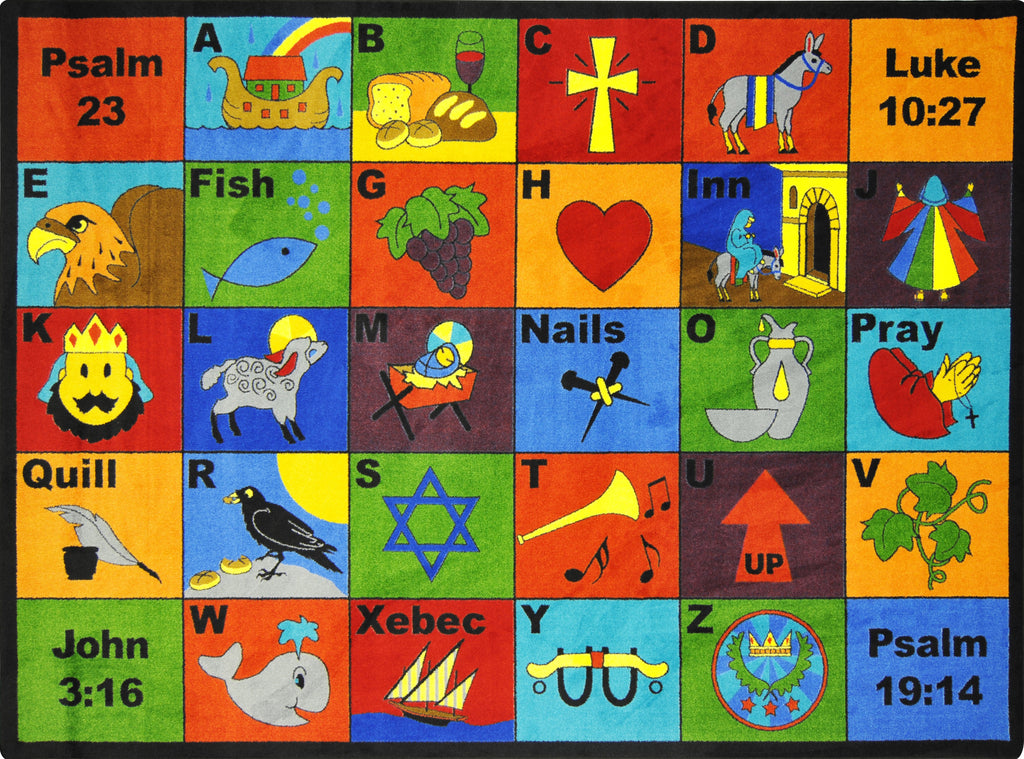 "Bible Phonics© Alphabet Classroom Rug, 5'4"" x 7'8"" Rectangle"