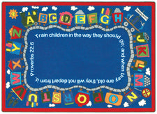 "Bible Train© Alphabet Classroom Rug, 7'7""  Round"
