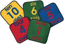 Bilingual Classroom Number KID$ Value PLUS Discount Carpet Squares, Set of 10