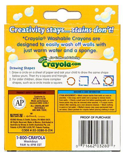 Washable Crayons Large 8 Count Peggable Box