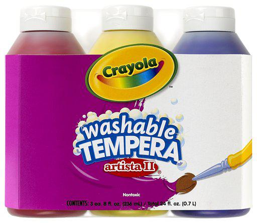 Artista II Tempera 3 Count 8 Oz Primary Color Set Washable Paint