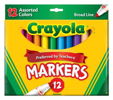 Crayola Markers 12 Count Assorted Colors Conical Tip