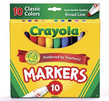 Crayola Taklon Watercolor 10 Count Brush Classic Broad Line Markers