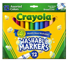 Crayola Washable Markers 12 Count Assorted Colors Conical Tip