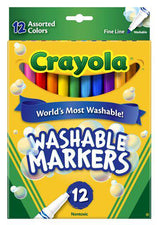 Crayola Washable Markers 12 Count Assorted Colors Fine Tip