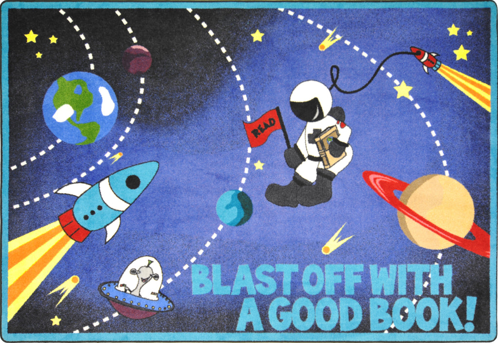 "Blast Off With a Good Book© Classroom Rug, 7'8"" x 10'9"" Rectangle"