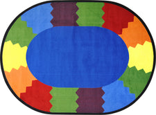 "Block Party© Classroom Circle Time Rug, 7'8"" x 10'9""  Oval"