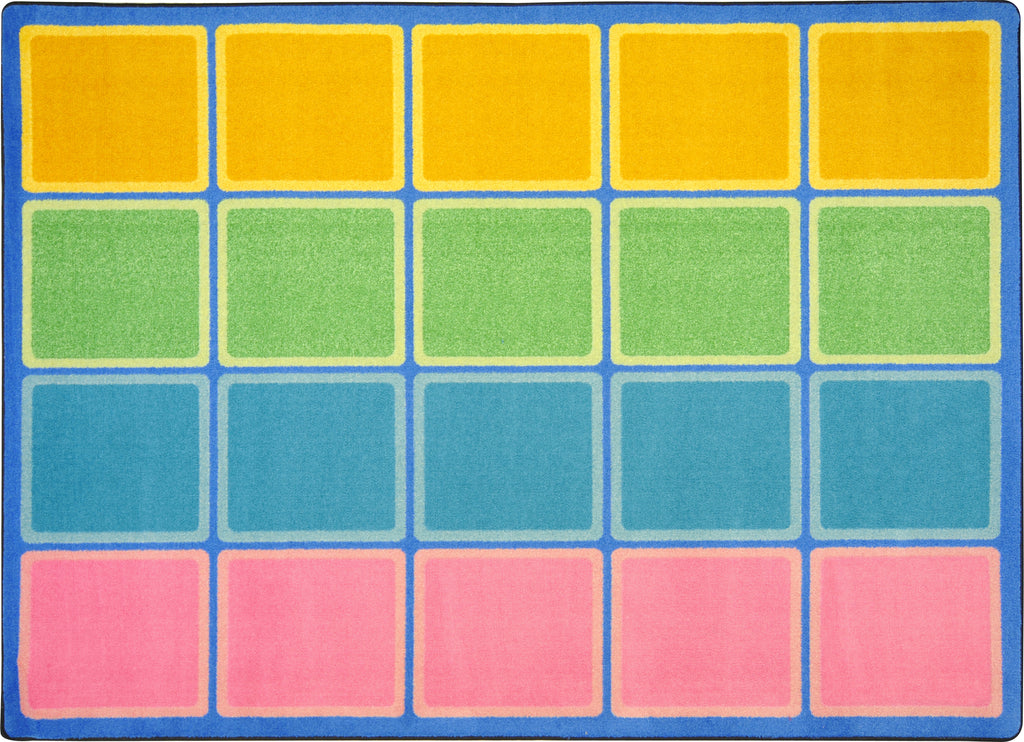 "Blocks Abound© Pastel Classroom Rug, 5'4"" x 7'8"" Rectangle"