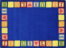 "Blocks of Love© Sunday School Rug, 3'10"" x 5'4"" Rectangle"