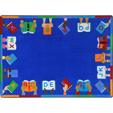 "Joy Carpets Books Are Handy™ Classroom Rug, 5'4"" x 7'8"" Rectangle"