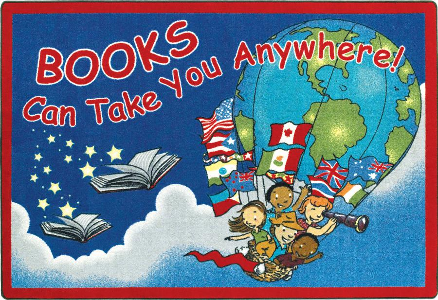 "Books Can Take You Anywhere© Classroom Rug, 3'10"" x 5'4"" Rectangle"