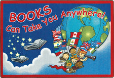 "Books Can Take You Anywhere© Classroom Rug, 7'8"" x 10'9""  Oval"