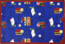 "Bookworm© Classroom Rug, 5'4"" x 7'8"" Rectangle Blue"