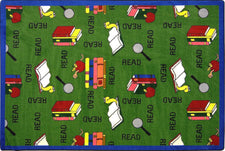 "Bookworm© Classroom Rug, 5'4"" x 7'8"" Rectangle Green"