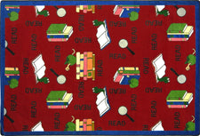 "Bookworm© Classroom Rug, 3'10"" x 5'4"" Rectangle Red"