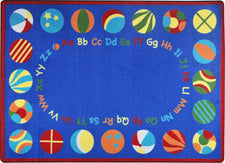 "Bouncy Balls© Alphabet Classroom Rug, 5'4"" x 7'8"" Rectangle Bold"