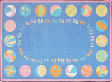 "Bouncy Balls© Alphabet Classroom Rug, 5'4"" x 7'8""  Oval Soft"