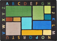 "Building Blocks© Alphabet Classroom Rug, 5'4"" x 7'8"" Rectangle Earthtone"