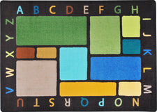 "Building Blocks© Alphabet Classroom Rug, 7'8"" x 10'9"" Rectangle Earthtone"