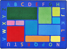 "Building Blocks© Alphabet Classroom Rug, 5'4"" x 7'8"" Rectangle Multi"