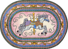 "Carousel© Classroom Rug, 7'8"" x 10'9""  Oval Pink"