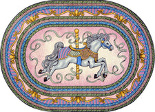 "Carousel© Kid's Play Room Rug, 5'4"" x 7'8""  Oval Pink"