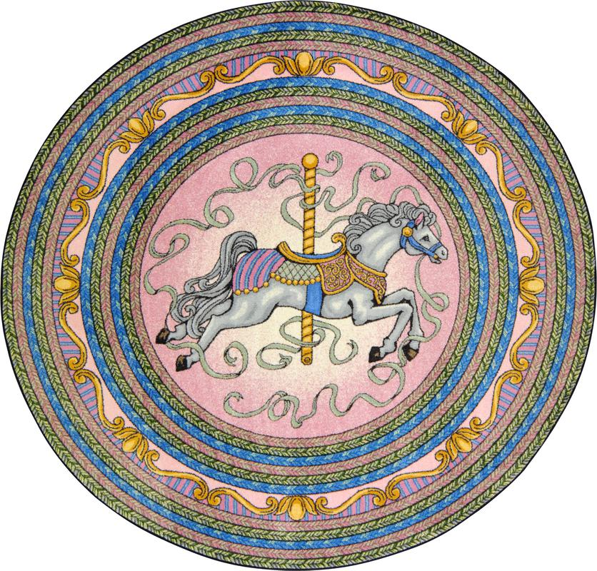 "Carousel© Kid's Play Room Rug, 5'4""  Round Pink"