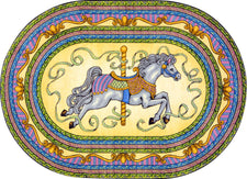 "Carousel© Kid's Play Room Rug, 3'10"" x 5'4""  Oval Yellow"