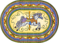 "Carousel© Kid's Play Room Rug, 5'4"" x 7'8""  Oval Yellow"