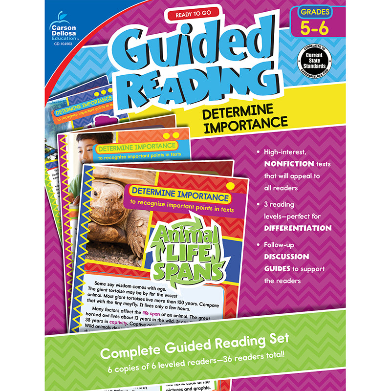 Guided Reading: Determine Importance Resource Book, Grades 5-6