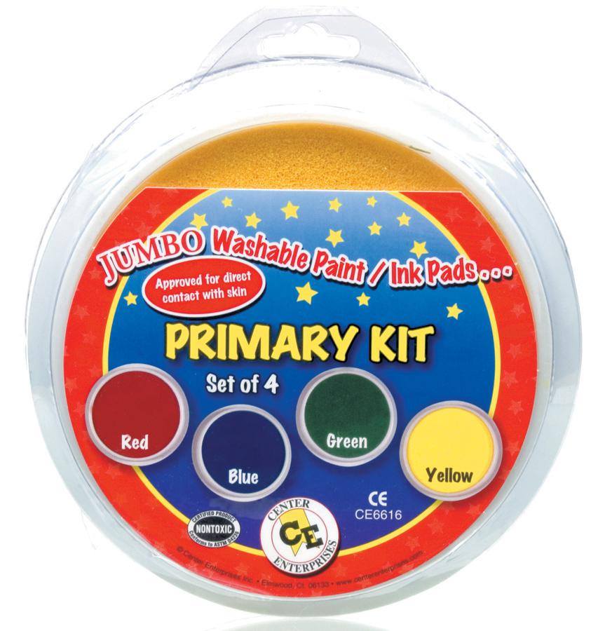 Jumbo Washable Paint/Ink Stamp Pad-Primary Kit