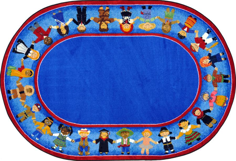 "Children of Many Cultures© Classroom Rug, 7'8"" x 10'9""  Oval"