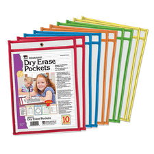 Reusable Dry Erase Pockets, Set of 10 Assorted