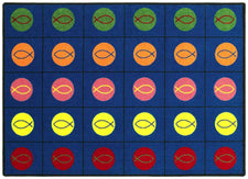 "Circles & Symbols© Classroom Circle Time Rug, 7'8"" x 10'9"" Rectangle"