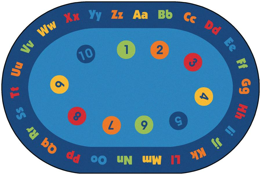 Circletime Early Learning KID$ Value PLUS Discount Classroom Circle Time Rug, 6' x 9' Oval