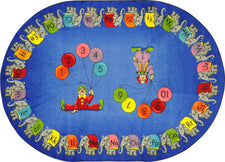 "Circus Elephant Parade© Classroom Circle Time Rug, 7'8"" x 10'9""  Oval"