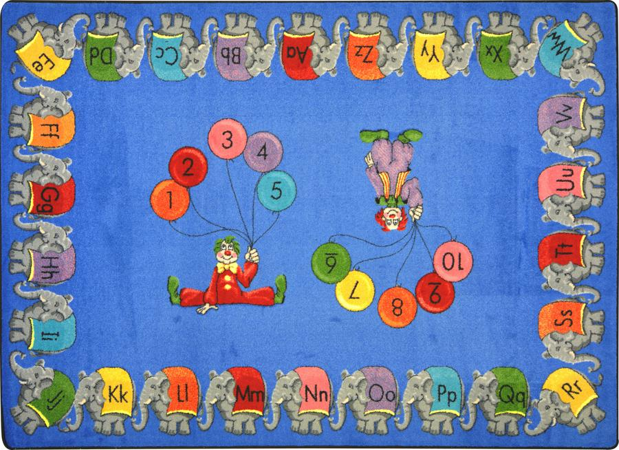 "Circus Elephant Parade© Alphabet & Numbers Classroom Rug, 5'4"" x 7'8"" Rectangle"