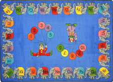 "Circus Elephant Parade© Alphabet & Numbers Classroom Rug, 3'10"" x 5'4"" Rectangle"